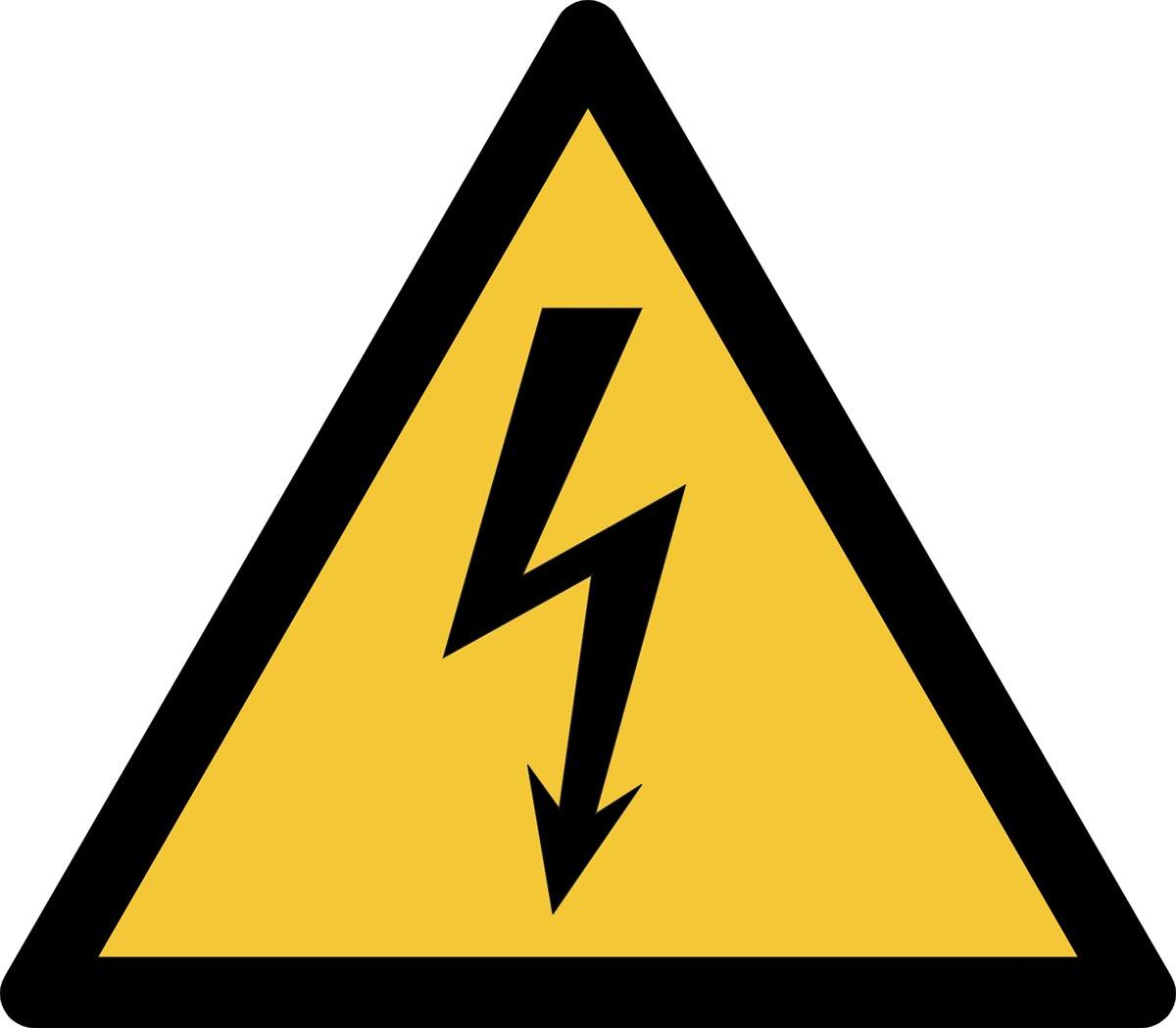 Tarifold waarschuwingsbord uit PP, gevaarlijke elektrische spanning, ft 20 x 17,6 cm