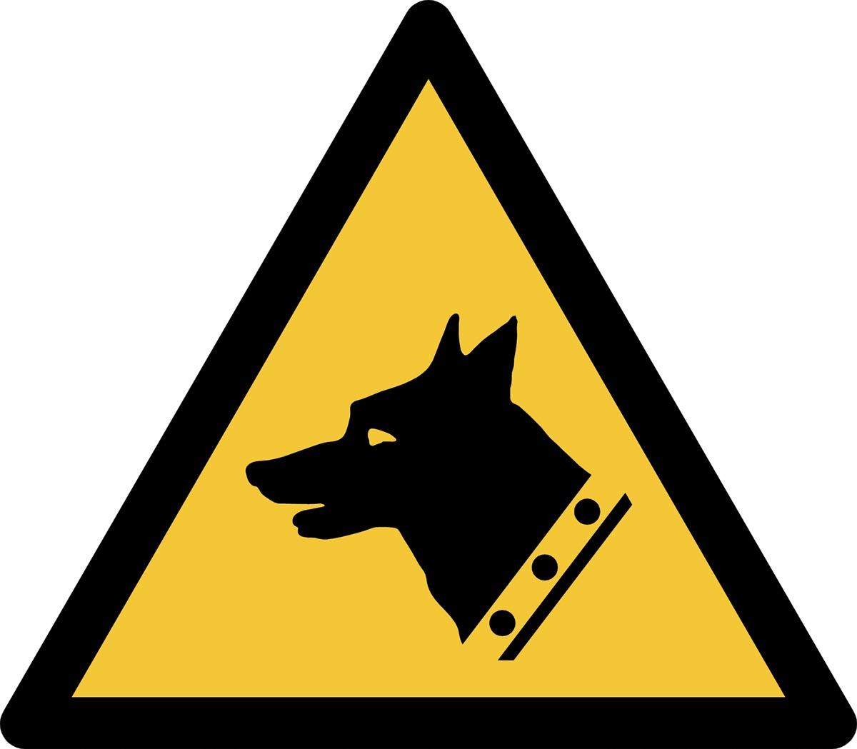 Tarifold waarschuwingsbord uit PP, waakhond, ft 20 x 17,6 cm