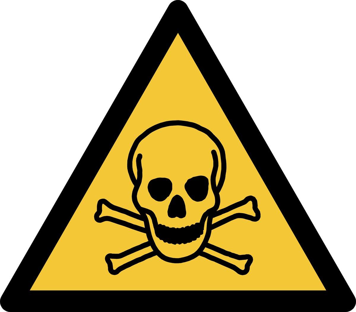 Tarifold waarschuwingsbord uit PP, giftige stoffen, ft 20 x 17,6 cm