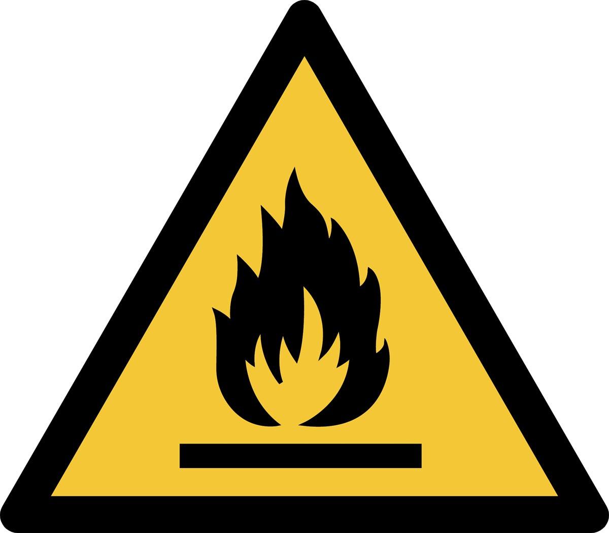 Tarifold waarschuwingsbord uit PP, ontvlambare stoffen, ft 20 x 17,6 cm