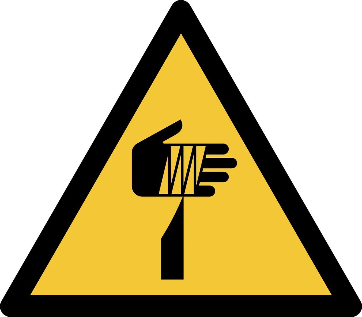 Tarifold waarschuwingsbord uit PP, gevaar voor scherpe elementen, ft 20 x 17,6 cm