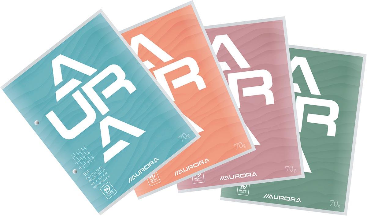 Aurora cursusblok, ft 16,5 x 21 cm, 75 vel, 2-gaatsperforatie, commercieel geruit