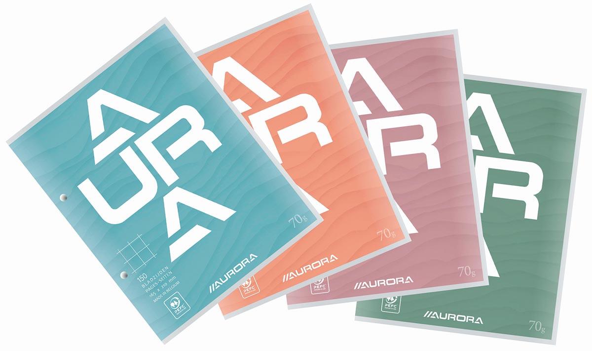 Aurora cursusblok, ft 16,5 x 21 cm, 75 vel, 2-gaatsperforatie, geruit 10 mm