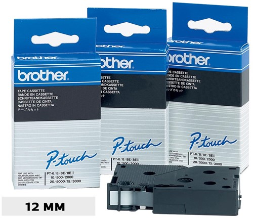 Brother TC tape voor P-Touch 12 mm, zwart op wit