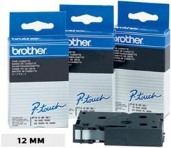 Brother TC tape voor P-Touch 12 mm, zwart op wit