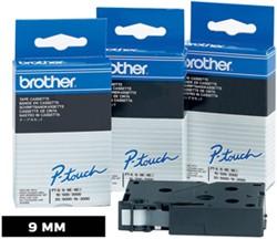 Brother TC tape voor P-Touch 9 mm, zwart op wit