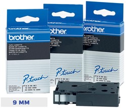 Brother TC tape voor P-Touch 9 mm, blauw op wit