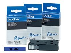 Brother TC tape voor P-Touch 12 mm, zwart op blauw