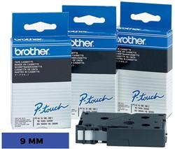 Brother TC tape voor P-Touch 9 mm, zwart op blauw