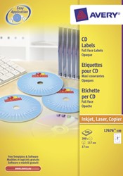 Avery Full size laser etiketten voor CD/DVD 200 stuks, doos van 100 blad