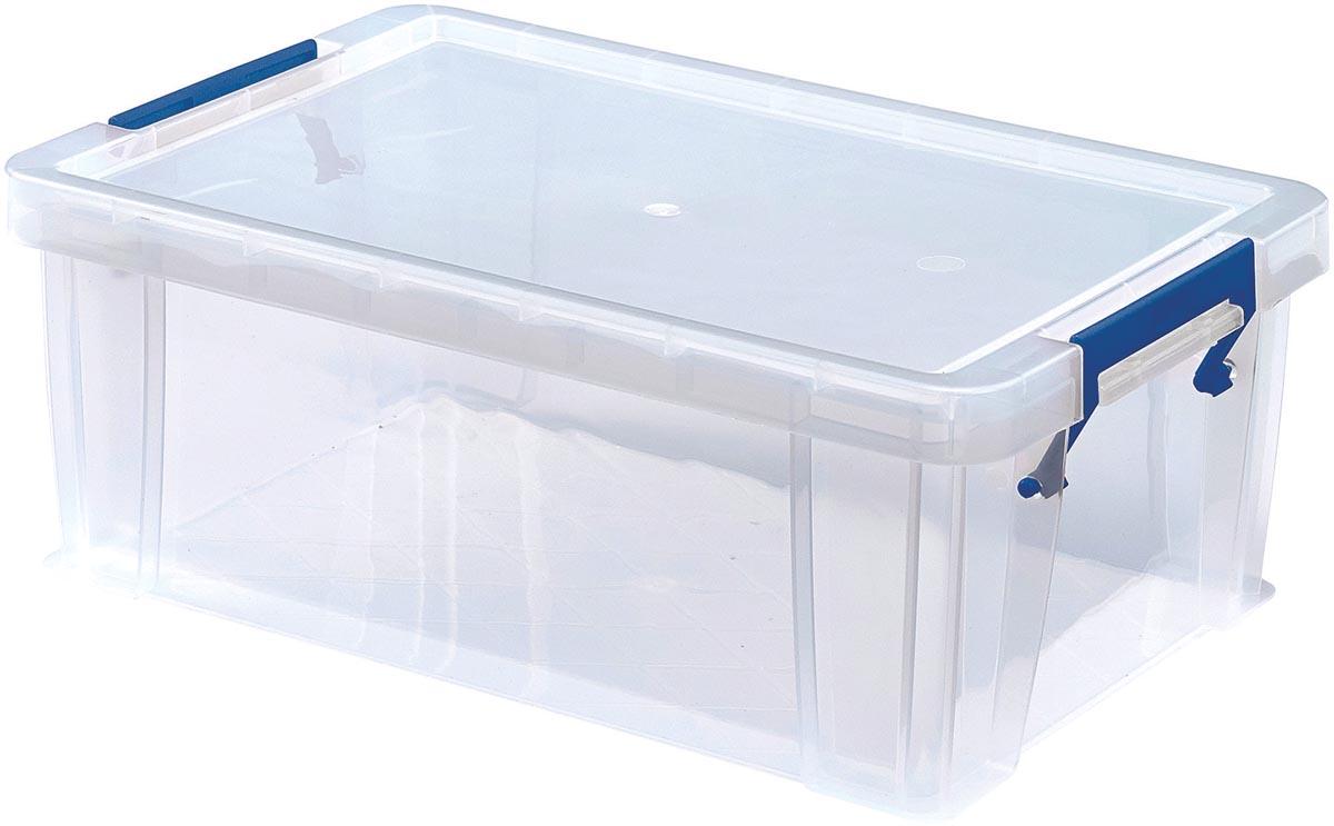 Bankers Box opbergdoos 10 liter, transparant met blauwe handvaten, set van 4 stuks verpakt in carton