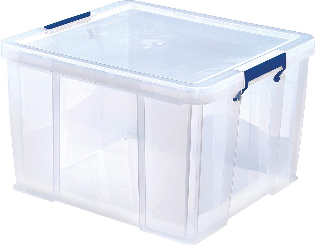 Bankers Box opbergdoos 48 liter, transparant met blauwe handvaten, per stuk verpakt in karton