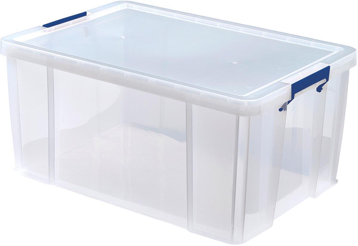 Bankers Box opbergdoos 70 liter, transparant met blauwe handvaten, per stuk verpakt in karton