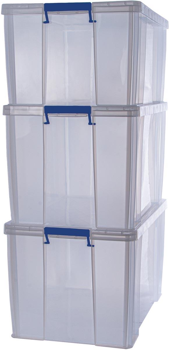 Bankers Box opbergdoos 2 x 85L + 1 x 70L, transparant met handvaten, set van 3 stuks verpakt in kart
