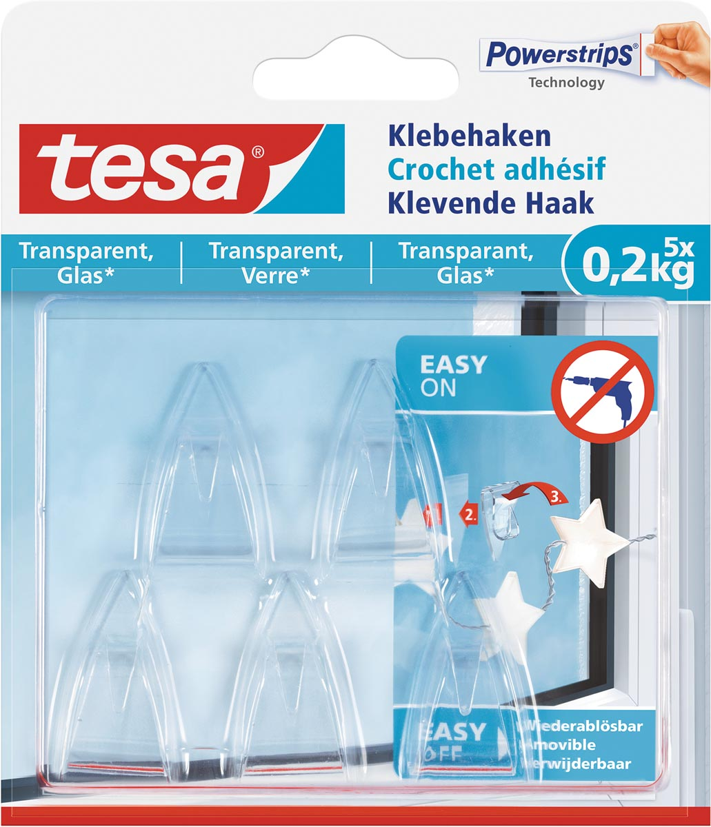 Tesa klevende Haak voor Transparant en Glas, draagvermogen 200 g, blister van 5 stuks