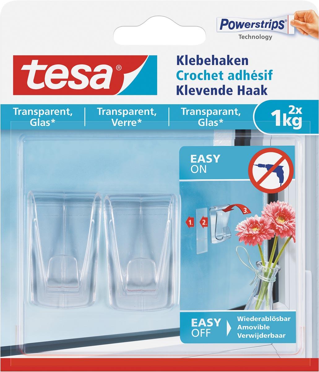 Tesa Klevende haak voor Transparant en Glas, draagvermogen 1 kg, blister van 2 stuks