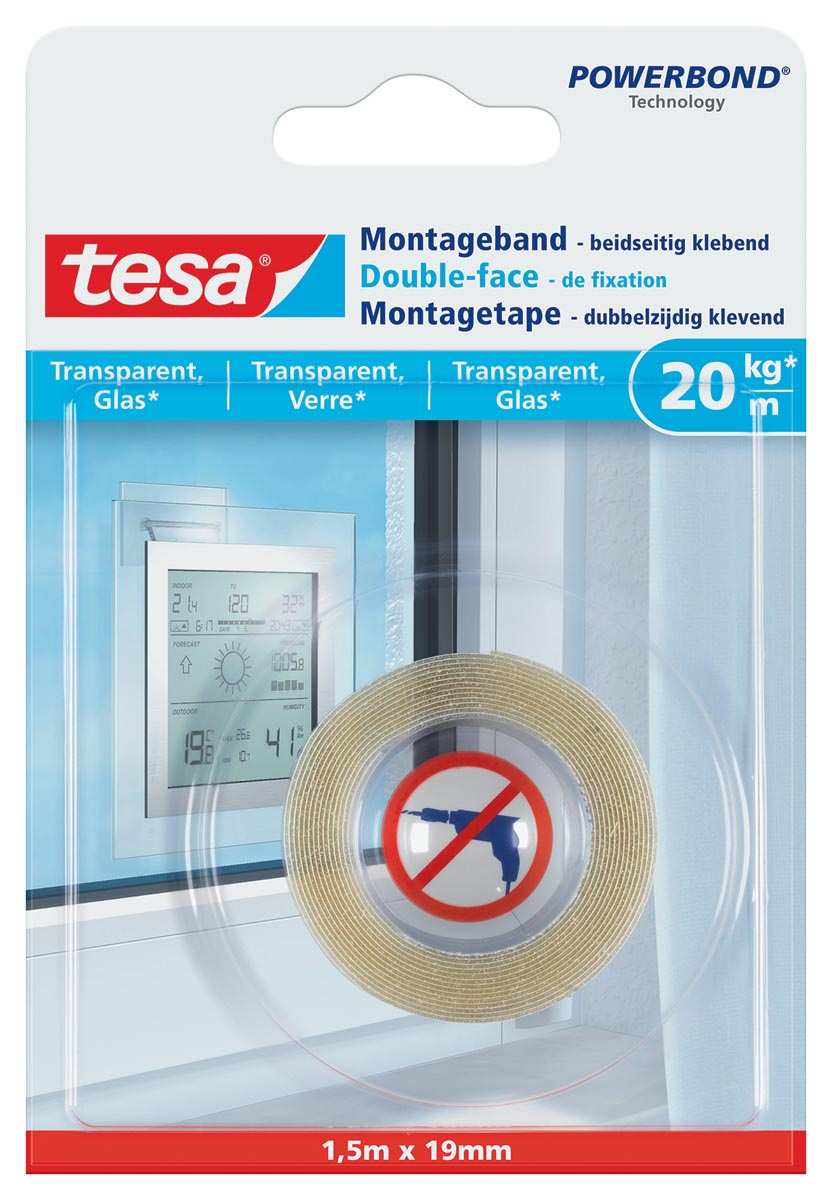 Tesa Powerbond montagetape Transparant, 19 mm x 1,5 m