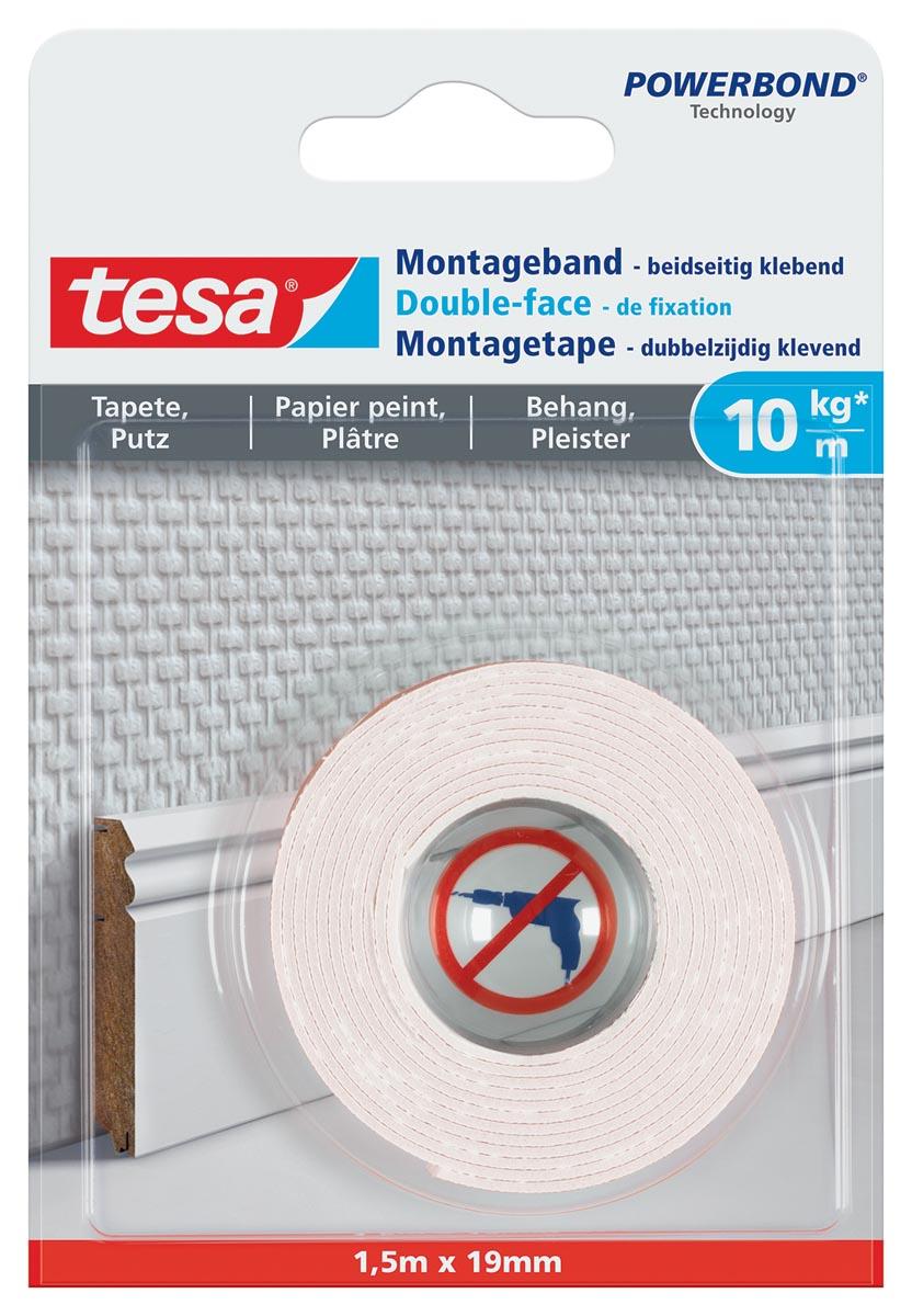 Tesa Powerbond montagetape Gevoelige Oppervlakken, 19 mm x 1,5 m