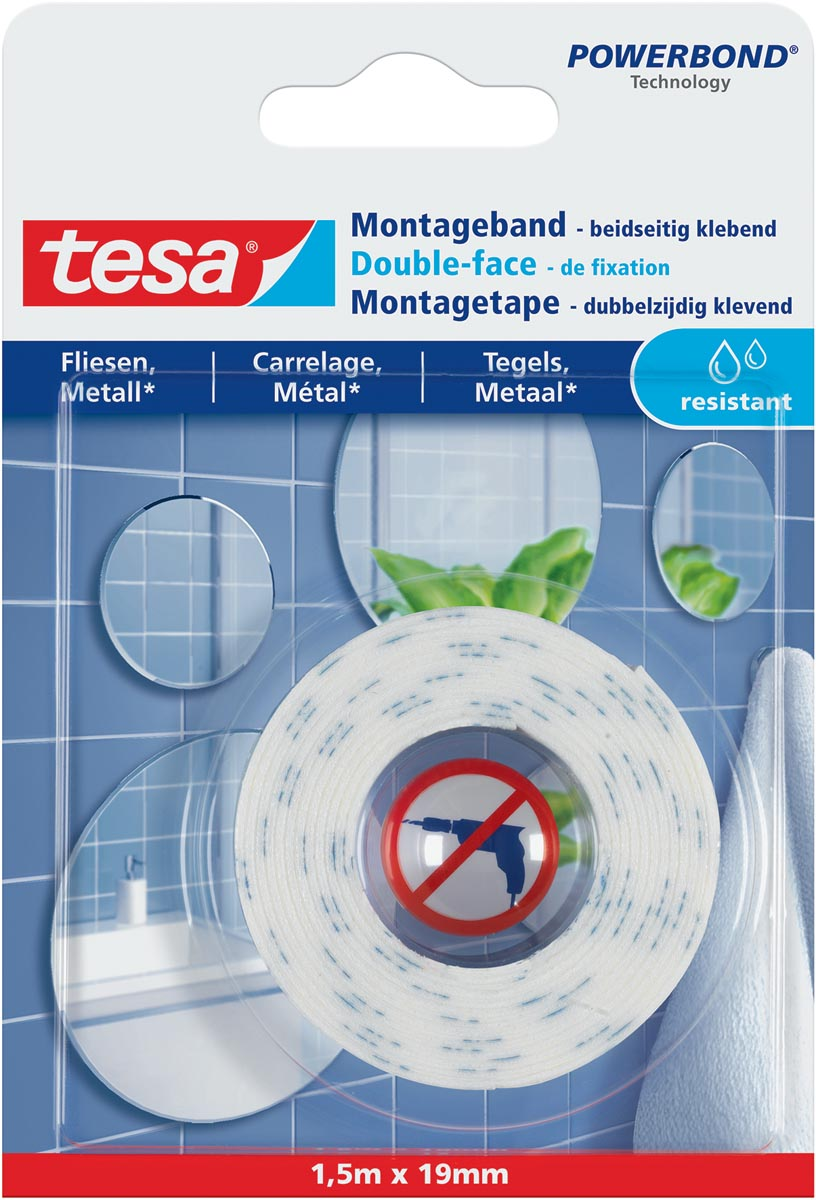 Tesa Powerbond montagetape Waterproof, 19 mm x 1,5 m
