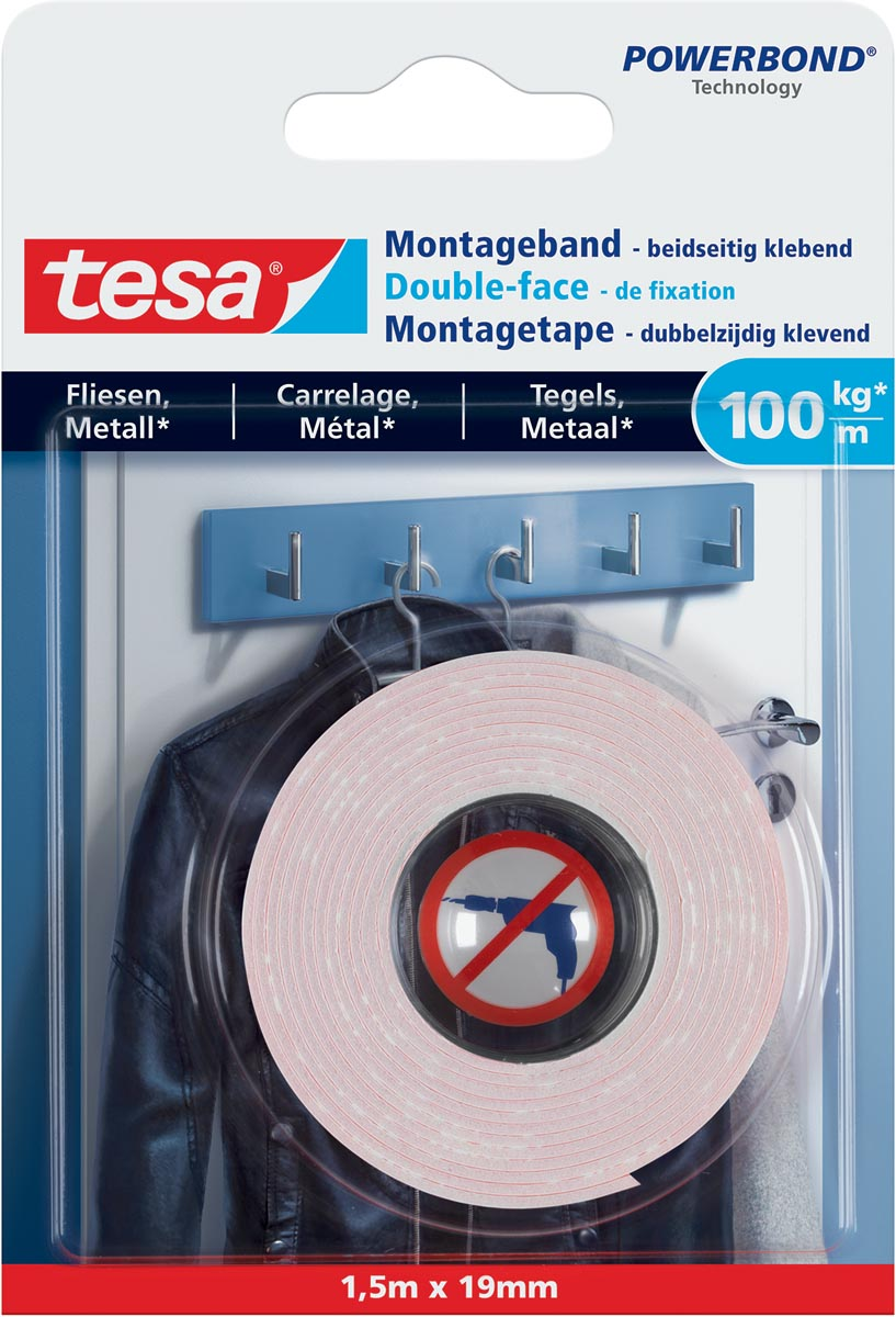 Tesa Powerbond montagetape Tegels en Metaal, 19 mm x 1,5 m