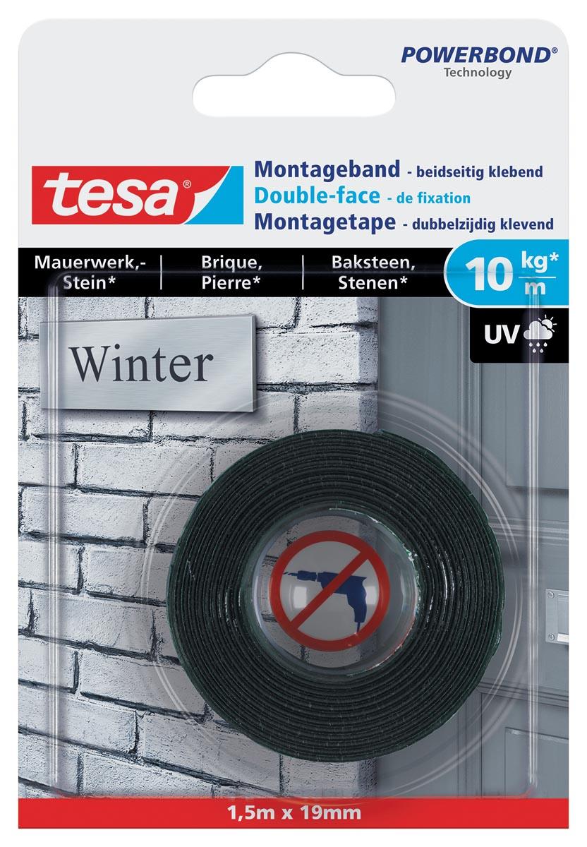 Tesa Powerbond montagetape Baksteen, 19 mm x 1,5 m