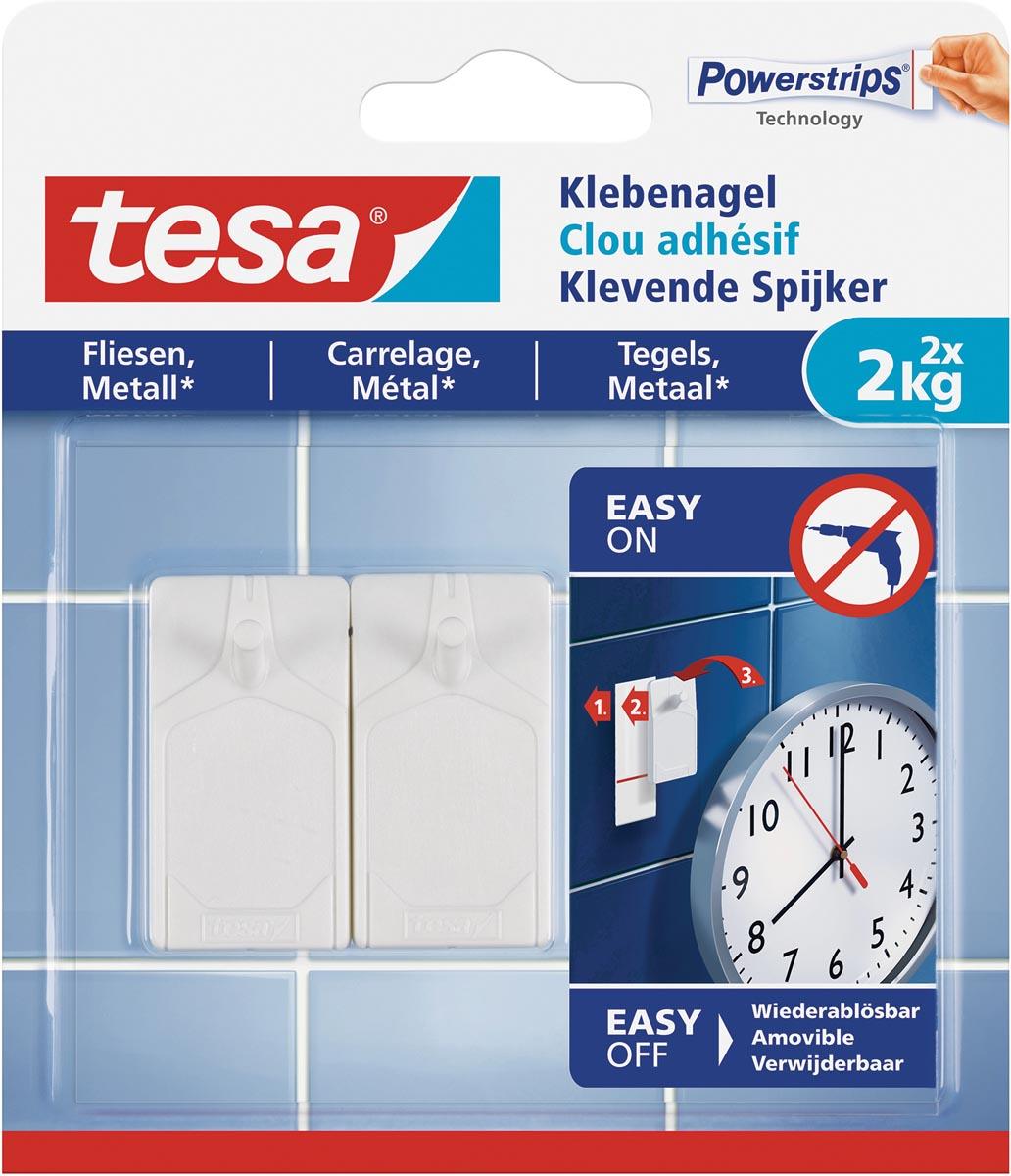 Tesa Klevende Spijker voor Tegels en Metaal, draagvermogen 2 kilogram, blister van 2 stuks