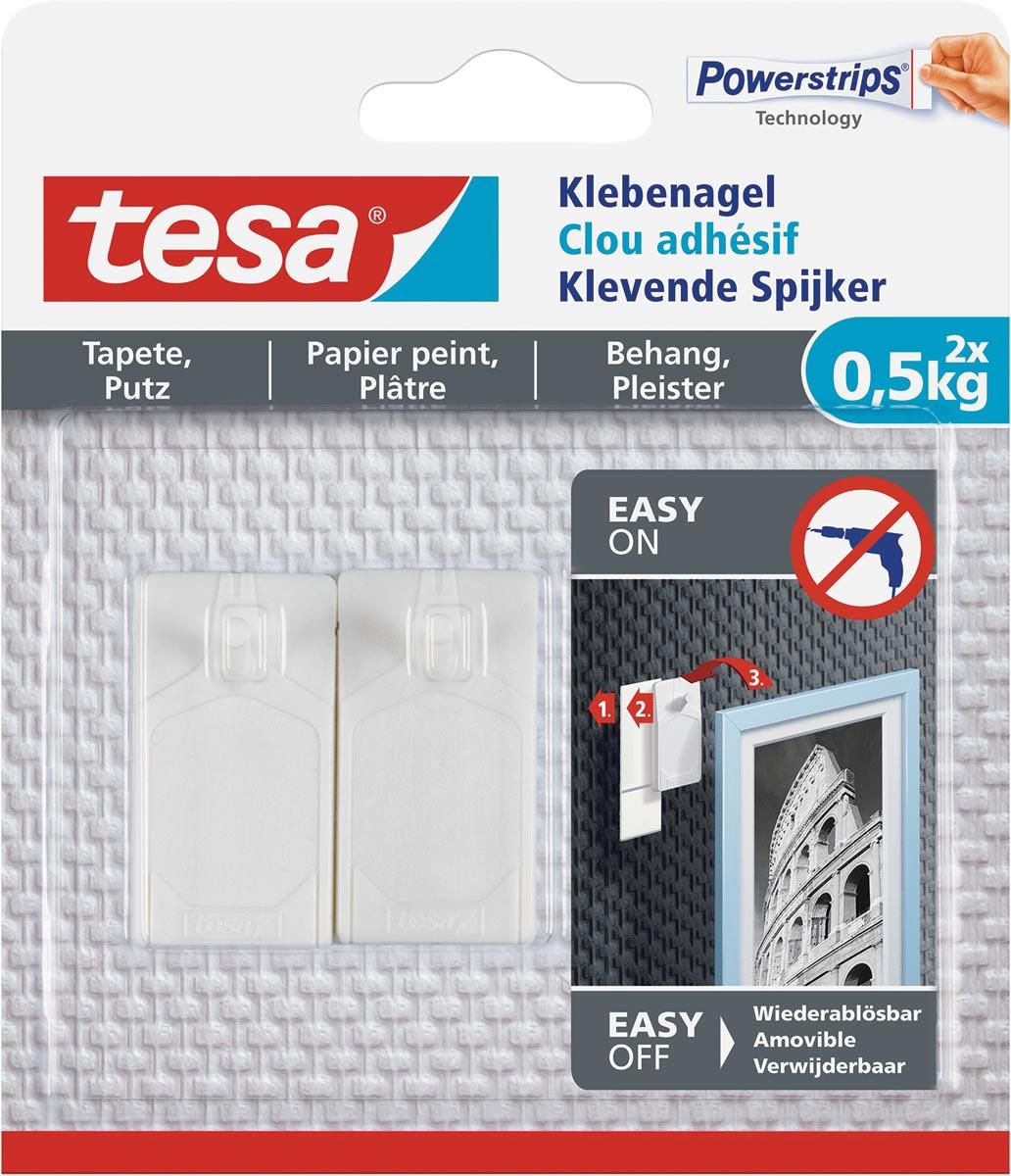 Tesa Klevende spijker voor Behang en Pleisterwerk, draagvermogen 500 gram, blister van 2 stuks