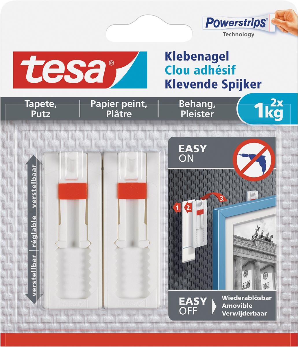 Tesa Klevende Spijker voor Behang en Pleisterwerk, verstelbaar, draagvermogen 1 kg, blister van 2 st