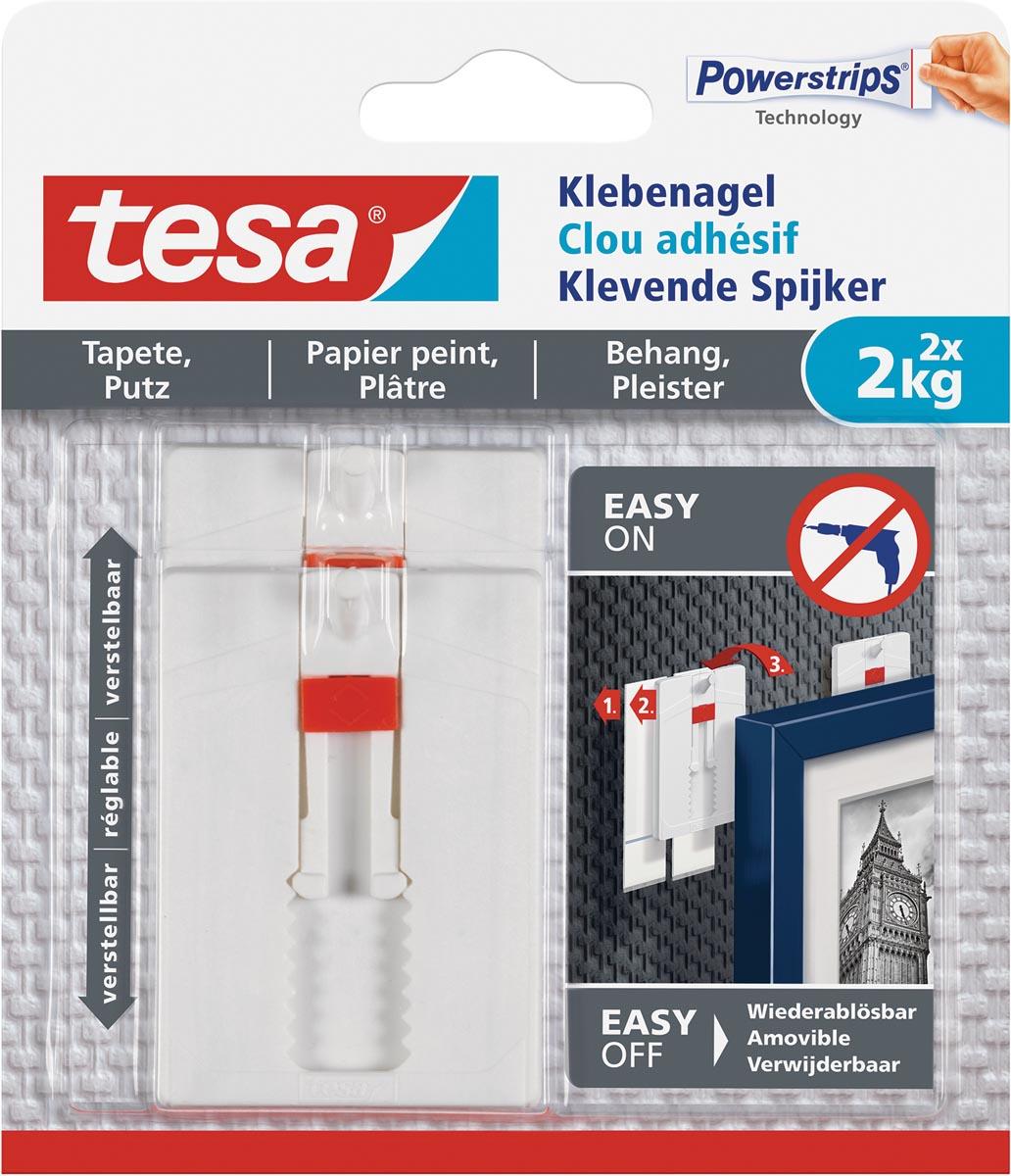 Tesa Klevende Spijker voor Behang en Pleisterwerk , verstelbaar, draagvermogen 2 kg, blister van 2 s