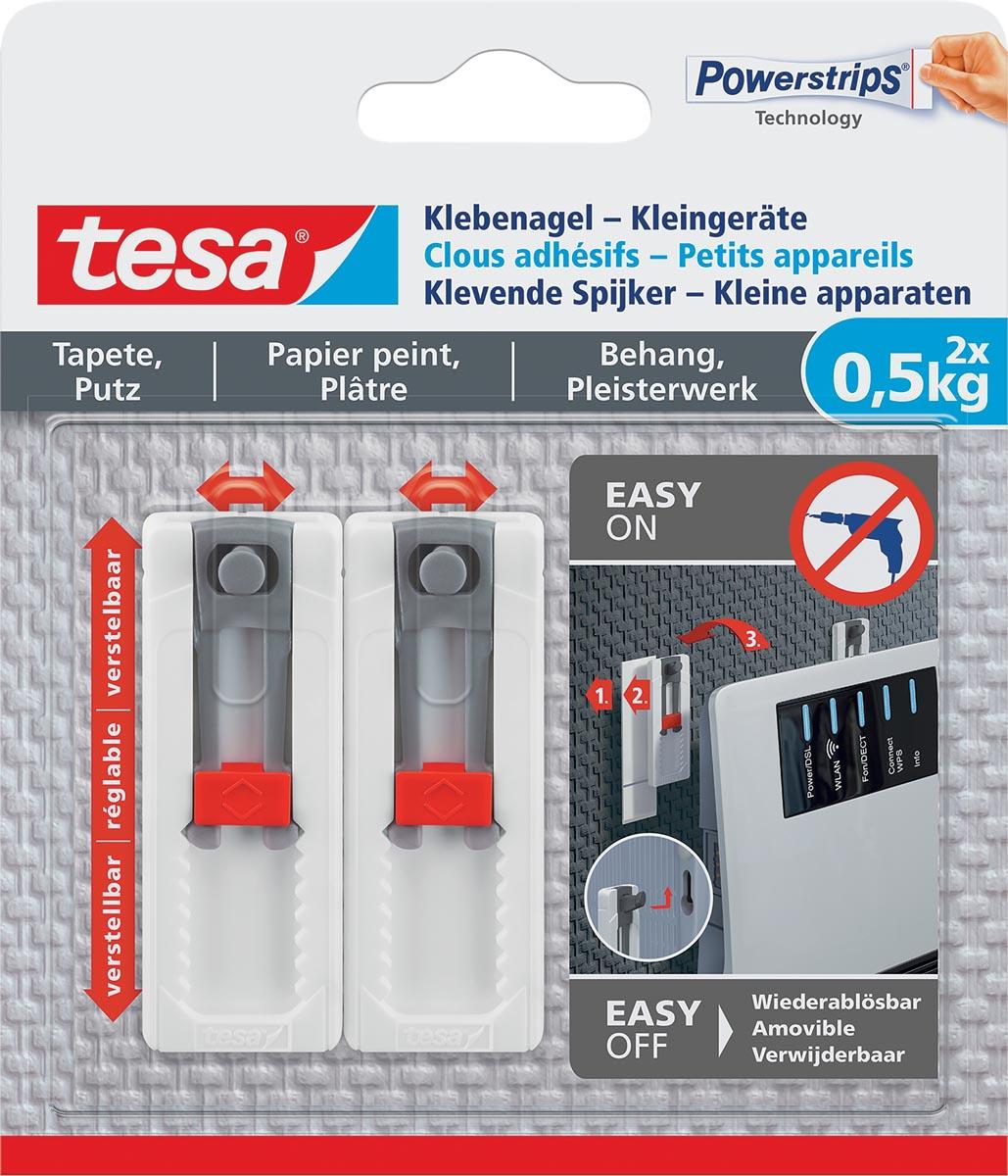 Tesa Klevende Spijker, draagkracht 0,5 kg, kleine apparaten, behang en pleisterwerk, 2 spijkers, 3 s