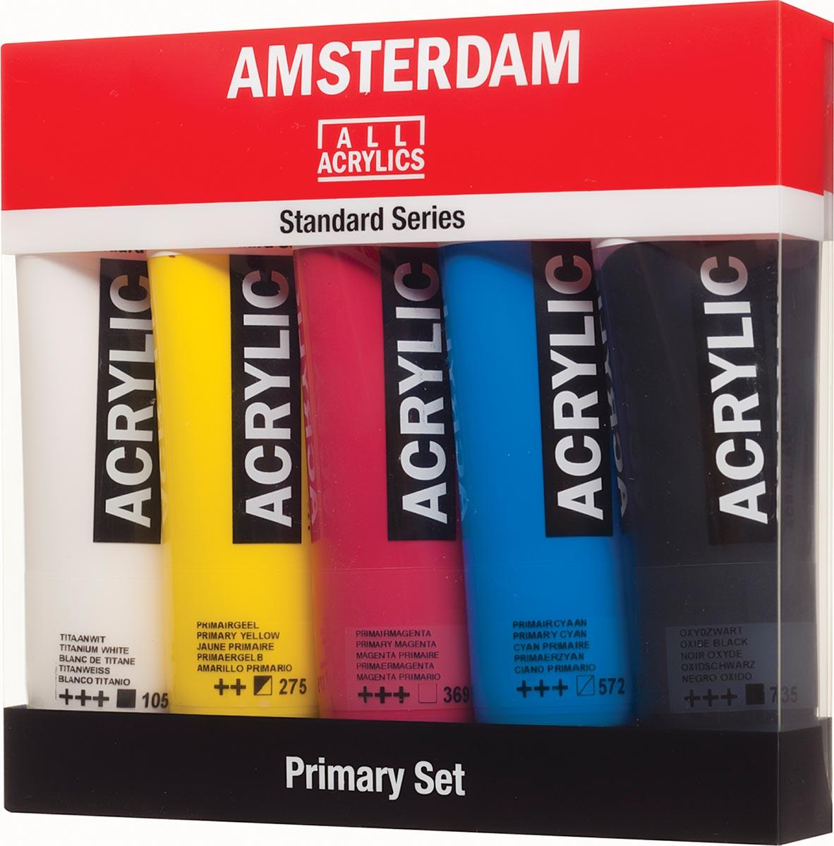 Amsterdam acrylverf tube van 120 ml, etui van 5 stuks in primaire kleuren
