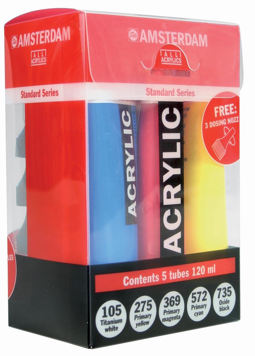Amsterdam acrylverf tube van 120 ml, etui van 5 tubes in primaire kleuren
