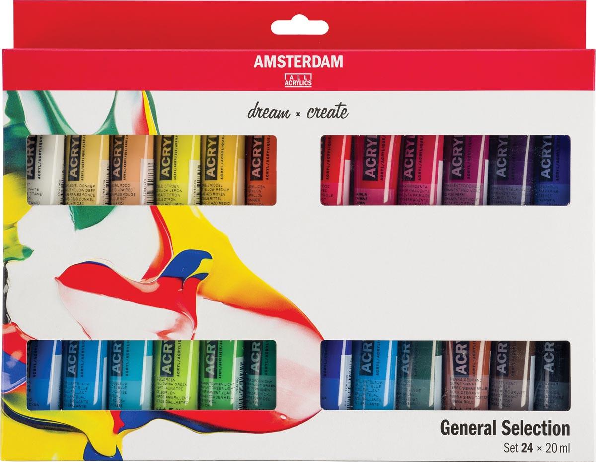Amsterdam acrylverf tube van 20 ml, etui van 24 stuks