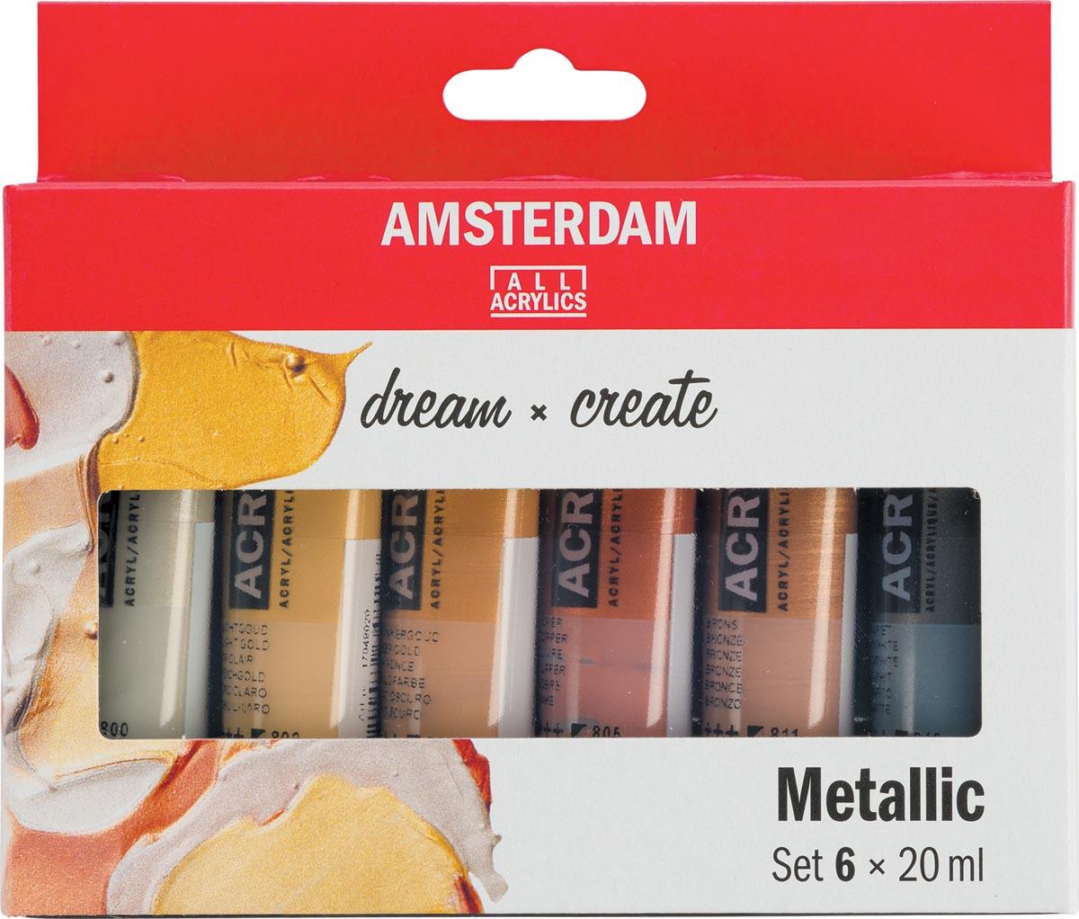 Amsterdam acrylverf tube van 20 ml, etui van 6 stuks, metallic