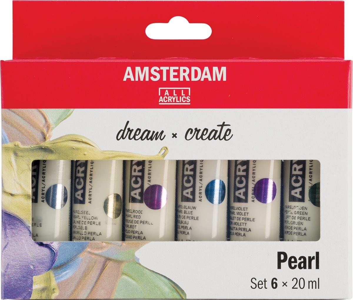 Amsterdam acrylverf tube van 20 ml, etui van 6 stuks, parelmoer