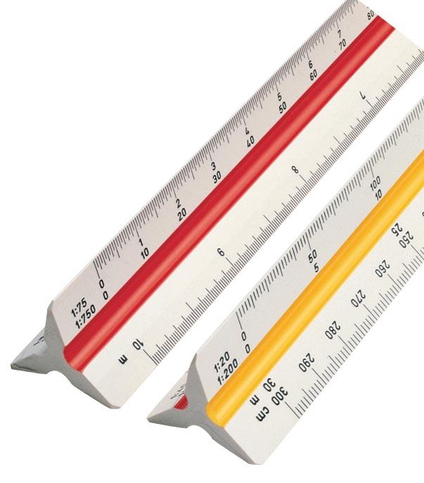 rotring driekantige schaallat 1:20; 1:25; 1:50; 1:75; 1:100 en 1:125