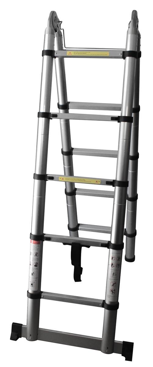 Telescopische ladder, dubbel, uit aluminium, maximum hoogte 3,2 meter