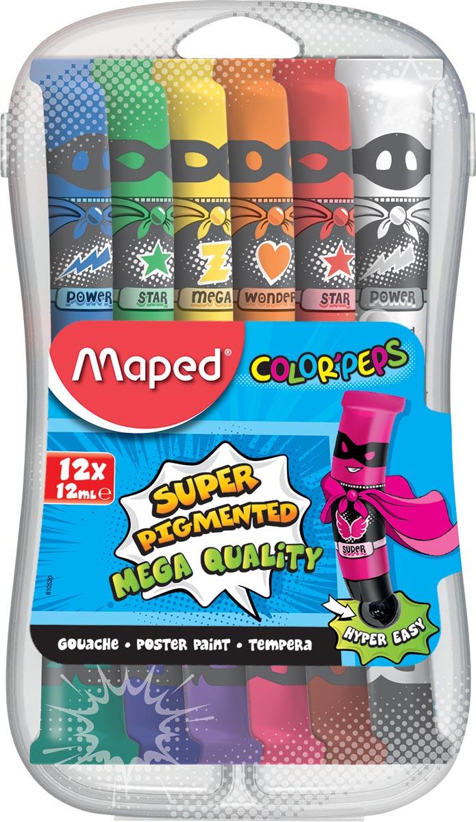 Maped plakkaatverf Color'Peps, 12 ml, 12 tubes in een plastic etui