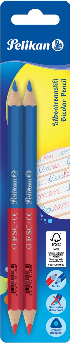 Pelikan tweekleurig potlood, rood en blauw