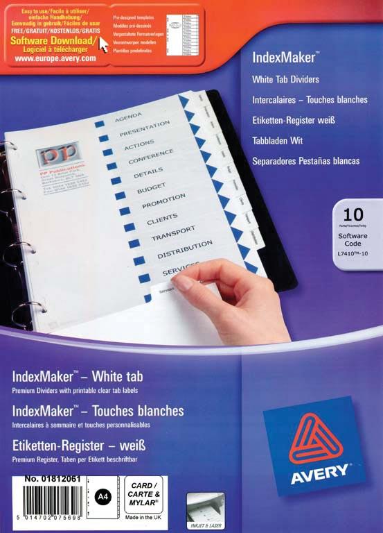 Avery IndexMaker tabbladen uit karton met schut- en indexbladen, ft A4, 10 tabs, wit