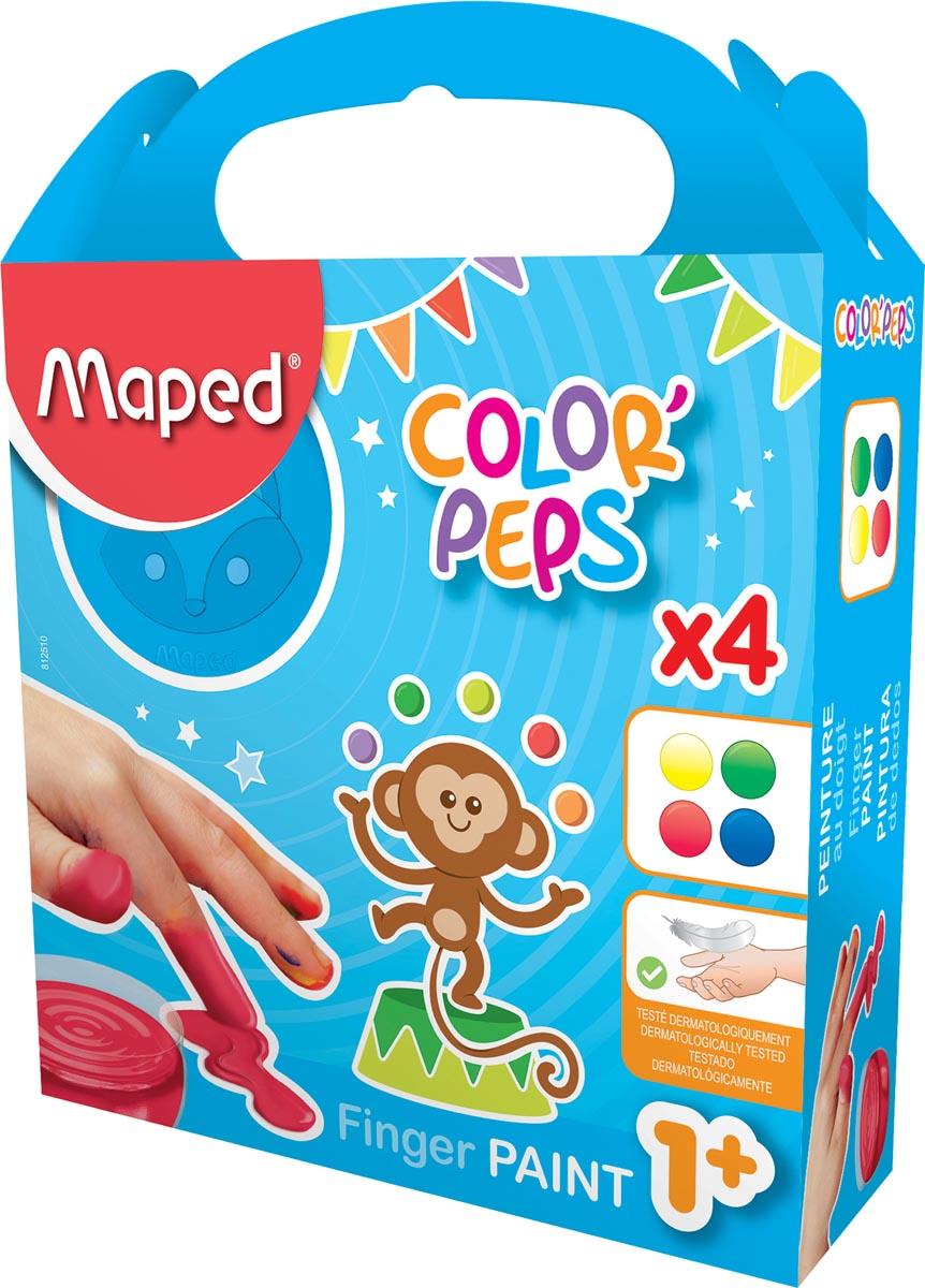 Maped vingerverf Color'Peps Early Age, doos van 4 potjes van 80 ml in geassorteerde kleuren