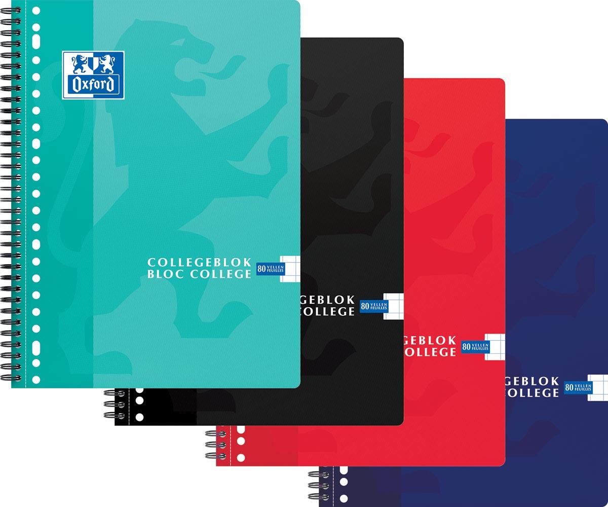 Oxford School collegeblok, ft A4+, 160 bladzijden, 23 gaatjes, geruit 10 mm, geassorteerde kleuren