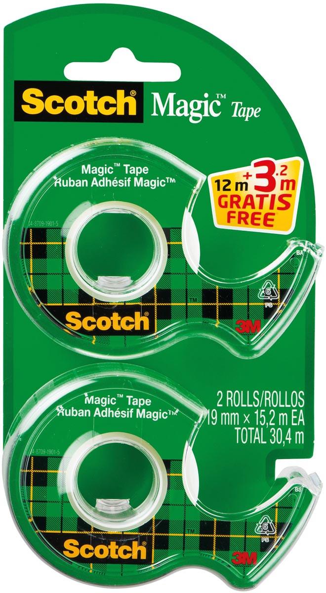 Scotch Magic tape in dispenser, 19 x 12m + 3,2m gratis, 2 clipstrips van elk 12 blisters