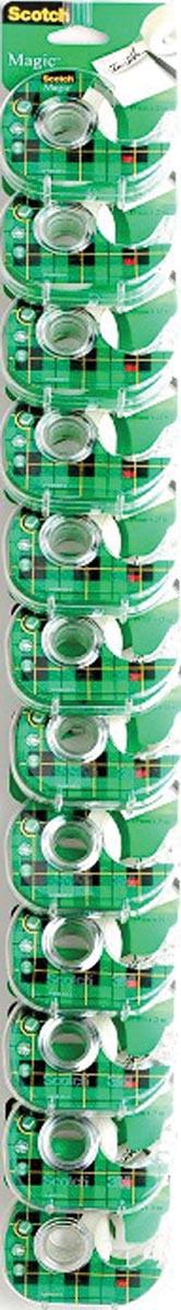 Scotch plakband Magic Tape ft 19 mm x 25 m, inclusief dispenser, clipstrip met 24 stuks