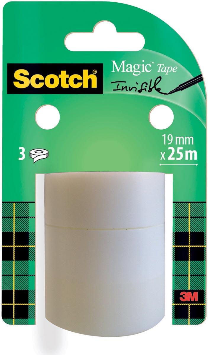 Scotch plakband Magic tape, 19 mm x 25 m, 3 rollen
