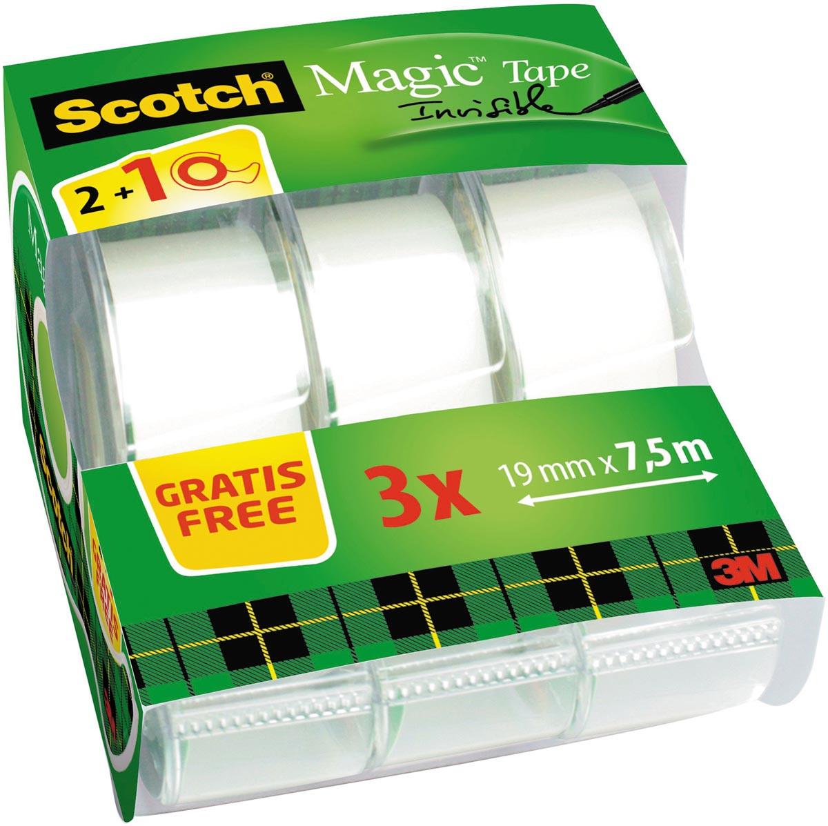 Scotch Magic onzichtbaar plakband, 2 rollen, 19 mm x 7,5 m + 1 Gratis plakbandhouder