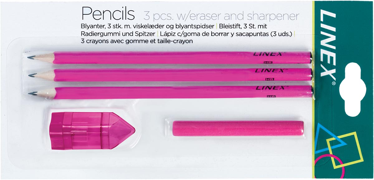 Linex schoolset potloden, roze