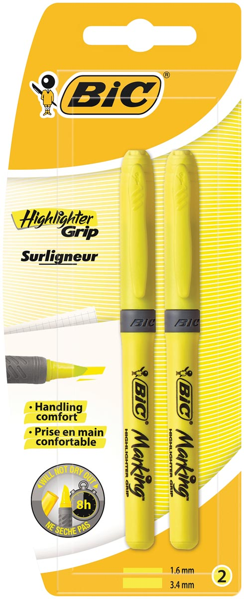 Bic markeerstift Highlighter Grip, blister van 2 stuks, geel