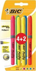 Bic markeerstift Highlighter Grip, blister 4 + 2 gratis in geassorteerde kleuren