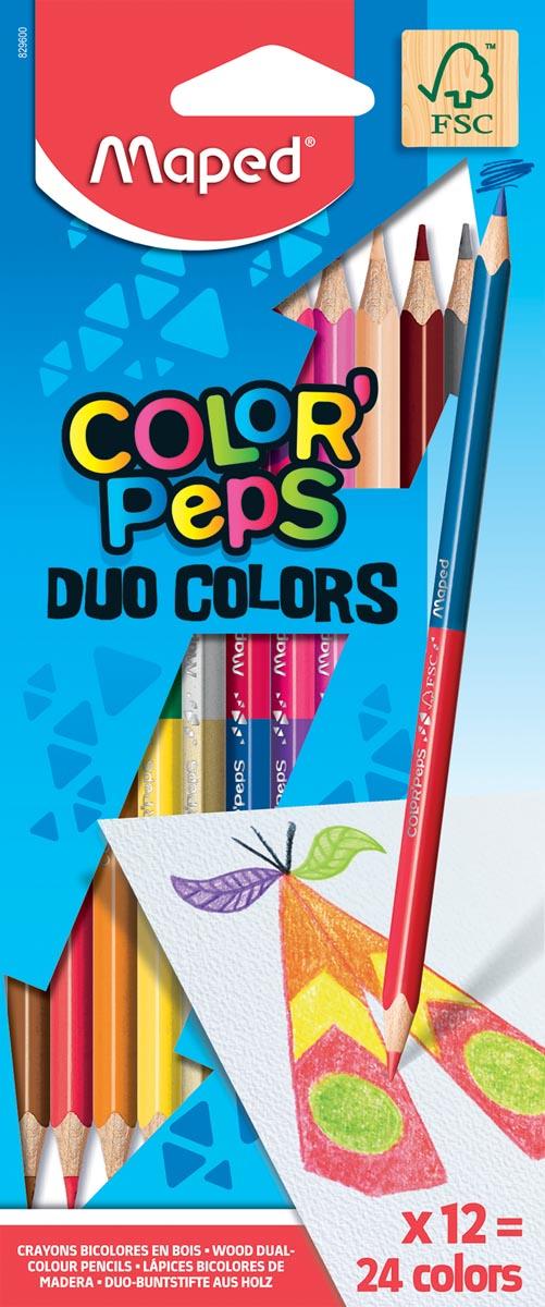 Maped driehoekig kleurpotlood Color'Peps Duo, 12 potloden in een kartonnen etui = 24 kleuren